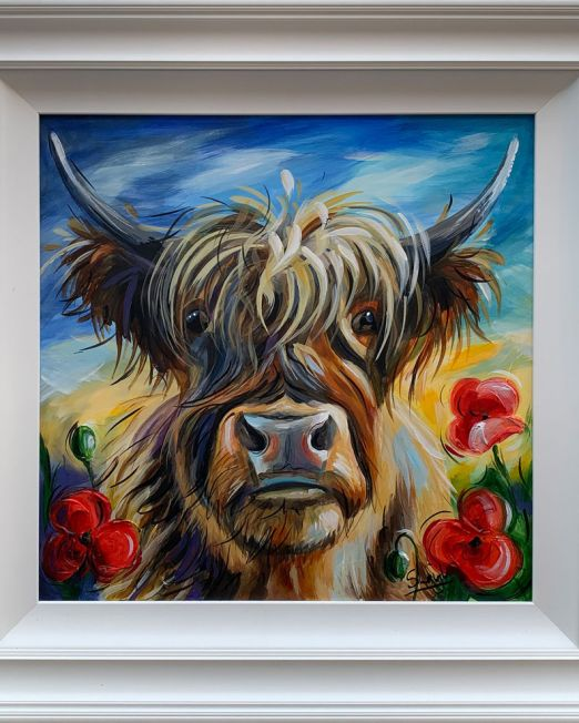 Susan Leigh - Highland Bull With Poppies