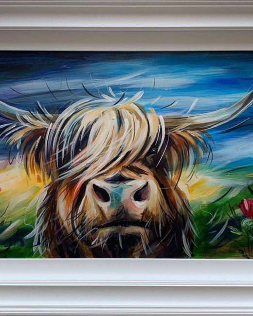 Susan Leigh - Highland Bull With Thistles