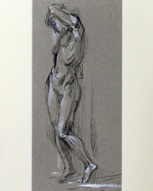 Miriah Slater - Standing Female Model 1989 (Image 33 x 15cm) (Mount 46 x 27cm)