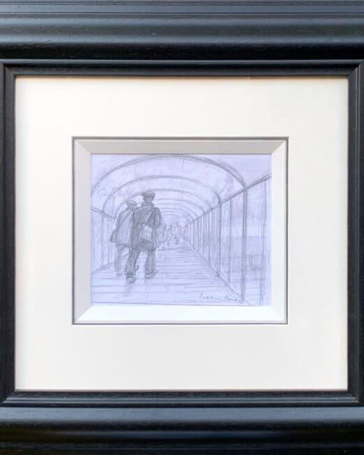 Peter Knox Over The Bridge (Image 21 x 17cm) (Frame 56 x 53cm)